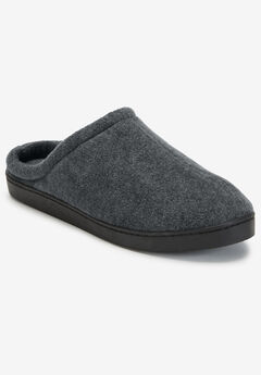 Fleece Clog Slippers, CHARCOAL