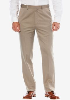 No Hassle® Classic Fit Expandable Waist Plain Front Dress Pants by KS Signature, TAUPE