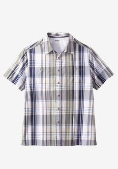 Short-Sleeve Madras Sport Shirt, NAVY MADRAS, hi-res