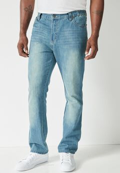 Relaxed Tapered Fit Side Elastic 5-Pocket Jeans by Liberty Blues®, LIGHT WASH