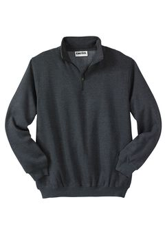 Quarter Zip-Front Fleece Jacket, HEATHER CHARCOAL, hi-res