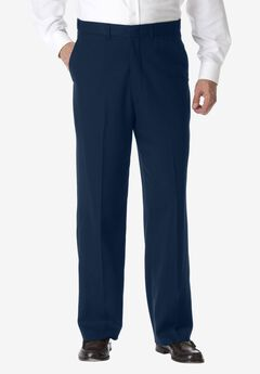 No Hassle® Classic Fit Expandable Waist Plain Front Dress Pants by KS Signature, NAVY