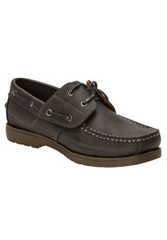 Hidden Velcro Leather Boat Shoe, BLACK, hi-res