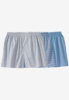 Woven Boxer 3-Pack, MIXED PRINT BLUE PATTERN, hi-res