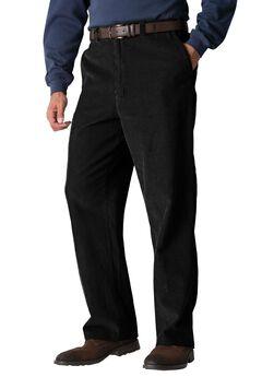 Six-Wale Corduroy Pleat-Front Pants, BLACK