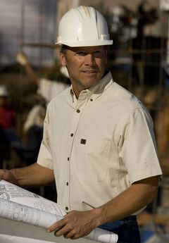 Short-Sleeve Chambray Work Shirt by Wrangler®,