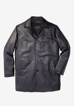 Updated Leather Car Coat, BLACK, hi-res