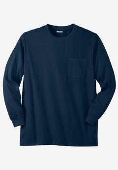 Shrink-Less™ Lightweight Long-Sleeve Crewneck Pocket Tee, NAVY, hi-res