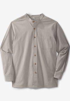 Gauze Mandarin Collar Button-Down Shirt,