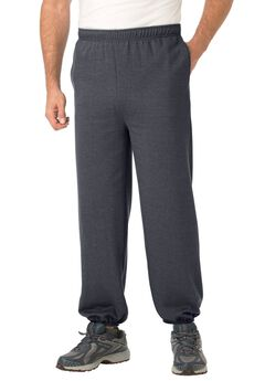 Fleece Sweatpants with Elastic Cuff, HEATHER CHARCOAL, hi-res