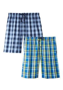 Hanes® 2-Pack Woven Sleep Shorts, GREEN PLAID BLUE, hi-res