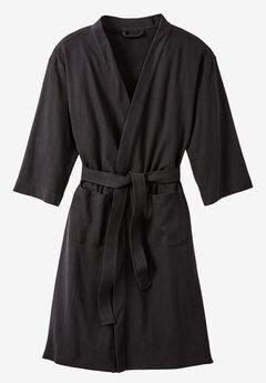 Hanes® Waffle Knit Robe, BLACK, hi-res