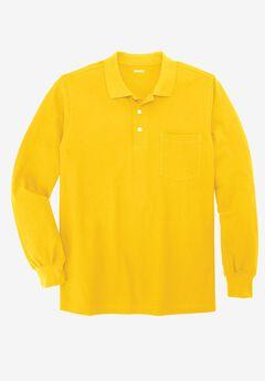 Long Sleeve Piqué Polo Shirt , MARIGOLD, hi-res