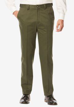 Athletic Fit Wrinkle Free Expandable Waist Plain Front Pants, ANTIQUE PINE, hi-res