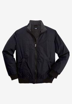 Fleece-Lined Bomber Jacket, BLACK, hi-res