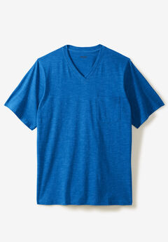 Shrink-Less™ Lightweight Cotton V-Neck Pocket Tee,