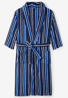 Terry Bathrobe with Pockets, NAVY STRIPE, hi-res
