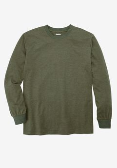 Heavyweight Long-Sleeve Pocketless Crewneck Tee by Boulder Creek®, HEATHER OLIVE, hi-res