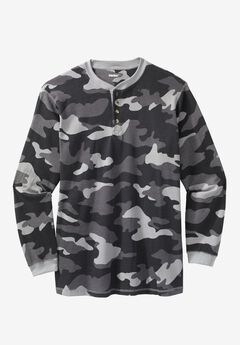 Waffle Knit Thermal Henley Tee, BLACK CAMO