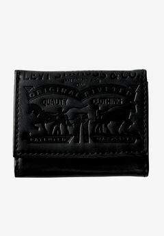 Leather Trifold Wallet with Embossed Logo by Levi's®, BLACK, hi-res