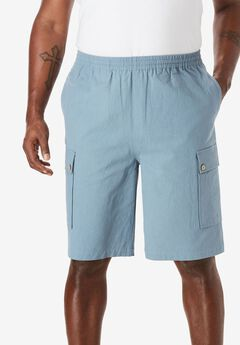 Gauze Cotton Cargo Shorts with Inside Drawstring,