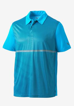 Striped Performance Polo by KS Sport™, ELECTRIC TURQUOISE GEO, hi-res