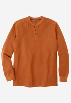 Easy-Care Ribbed Knit Henley Tee, TERRACOTTA, hi-res