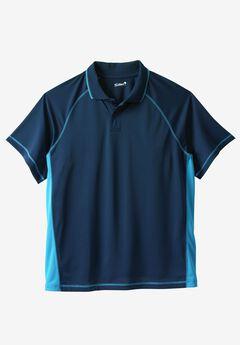 Raglan Sleeve Swim Polo, NAVY ELECTRIC TURQUOISE