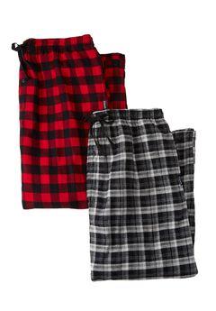 Hanes® 2pk Flannel PJ Pants, RED PLAID BLACK, hi-res