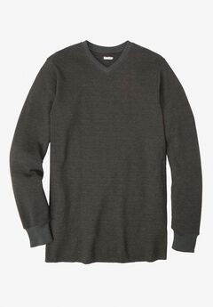 Heavyweight Thermal V-Neck Tee, HEATHER SLATE