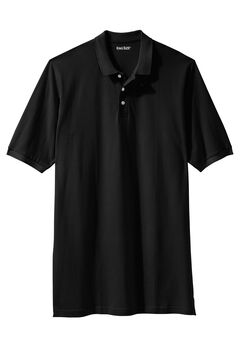 Longer-Length Short-Sleeve Piqué Polo , BLACK, hi-res