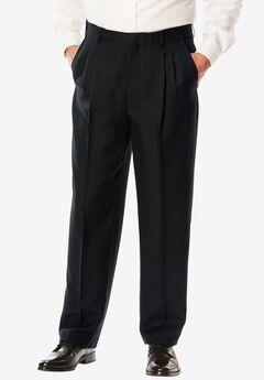 Easy-Care Modern Fit Expandable Waist Double Pleat Front Pants,