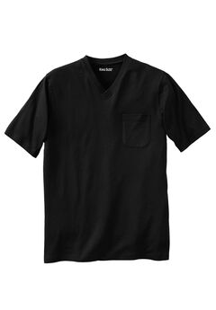 Shrink-Less™ Lightweight Cotton V-Neck Pocket Tee, BLACK, hi-res