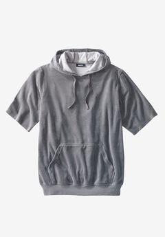 Velour Short-Sleeve Pullover Hoodie, STEEL