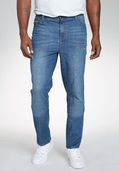 Relaxed Tapered Fit 5-Pocket Stretch Jeans by Liberty Blues®, BLUE WASH, hi-res