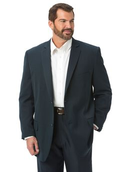 Lightweight Blend Two-Button Suit Jacket by Kings' Court®, NAVY, hi-res