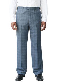Easy Movement® Plain Front Expandable Suit Separate Dress Pants by KS Signature, NAVY WINDOW PANE, hi-res