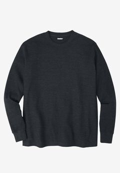 Waffle Knit Thermal Crewneck Tee, HEATHER CHARCOAL