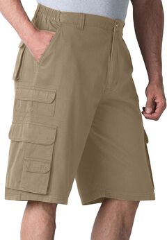 Ranger Side-Elastic Cargo Shorts by Boulder Creek®, DARK KHAKI, hi-res