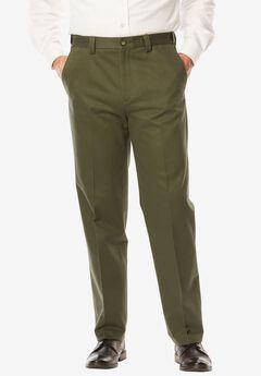 Straight Fit Wrinkle Free Expandable Waist Plain Front Pants, ANTIQUE PINE, hi-res