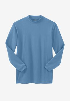 Mock Turtleneck Long-Sleeve Cotton Tee, LEGEND BLUE, hi-res