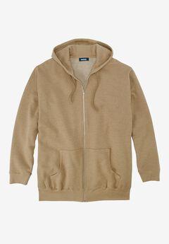 Fleece Zip-Front Hoodie, HEATHER KHAKI, hi-res
