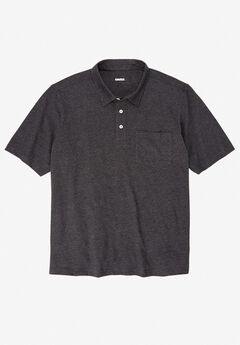 Shrink-Less™  Lightweight Short-Sleeve Polo Tee, HEATHER CHARCOAL