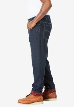 Flannel Lined Side-Elastic Jeans, , hi-res