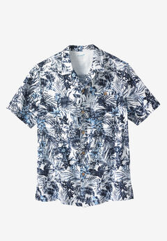 Solid Linen Camp Shirt by KS Island™, OCEAN FLORAL, hi-res