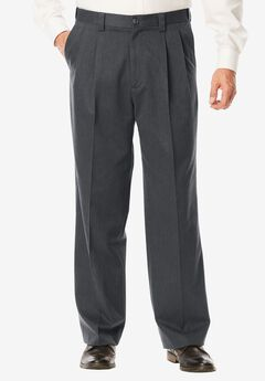 Relaxed Fit Wrinkle Free Expandable Waist Pleat Front Pants, CHARCOAL, hi-res