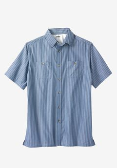 Easy-Care Short-Sleeve Striped Sport Shirt,