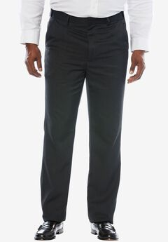 No Hassle® Classic Fit Expandable Waist Plain Front Dress Pants by KS Signature, HEATHER CHARCOAL, hi-res