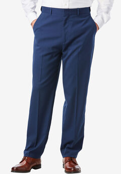 Easy-Care Modern Fit Expandable Waist Plain Front Dress Pants,