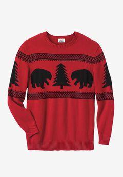 Snowflake Crewneck Sweater, BEAR